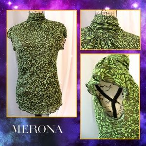 Merona Green High Collar Short Sleeve Blouse
